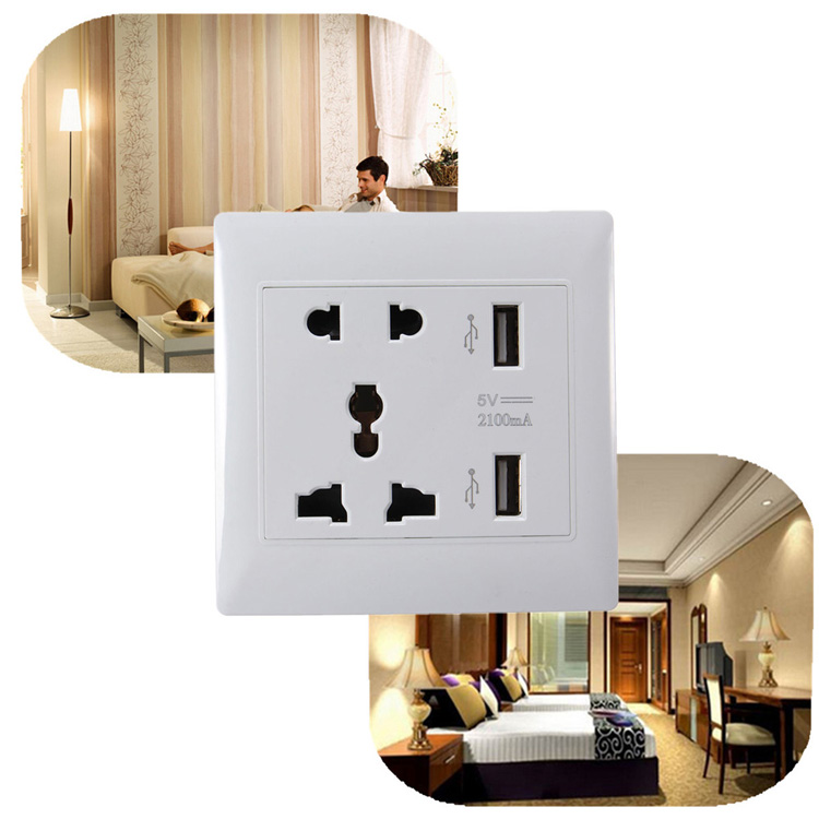 Dual USB Ports Universal Wall Power Socket Outlet Flame-resistant PC Shell Adapter