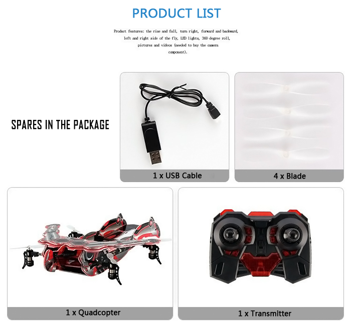 SKY HERO 1326B Ironman Design 2.4GHz 4CH RC Quadcopter with 360 Degree Rollover