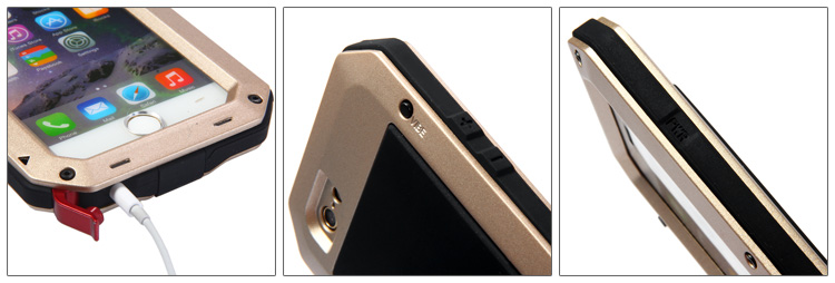 Metal Aluminum Case with Gorilla Glass Waterproof Shockproof Dustproof Full Angle Protected for iPhone 6 6S