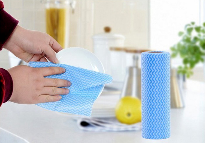 50pcs / Roll Non-Woven Fabric Kitchen Scouring Pad Washcloth Cleaning Cloth