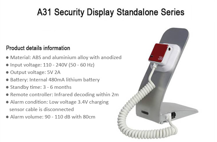 Anti-Theft Security Alarm Charging Display Stand for Cell Phone and Digital Devices Exhibition