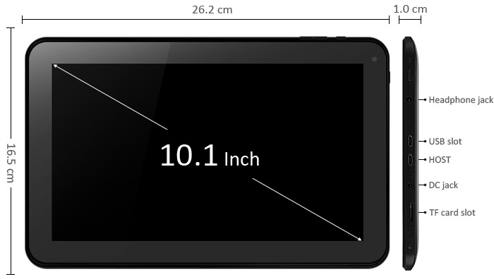 10.1 inch Android 4.4 Tablet PC WSVGA Screen A33 Quad Core 1.3GHz 1GB RAM 16GB ROM WiFi Bluetooth