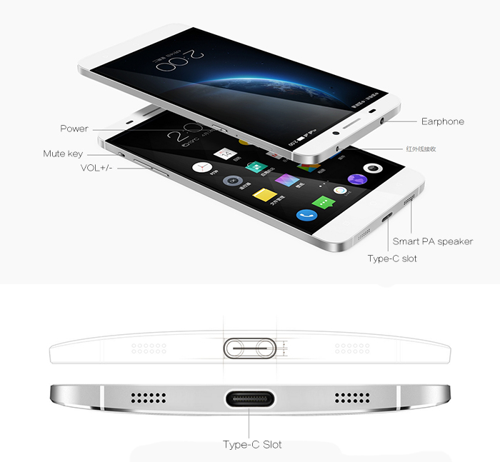 5.5 inch LETV Leeco X600 Android 5.0 Lollipop 4G Phablet with MTK helio X10 64bit 2.0GHz Octa Core 3GB RAM 16GB ROM EUI Hall Sensor