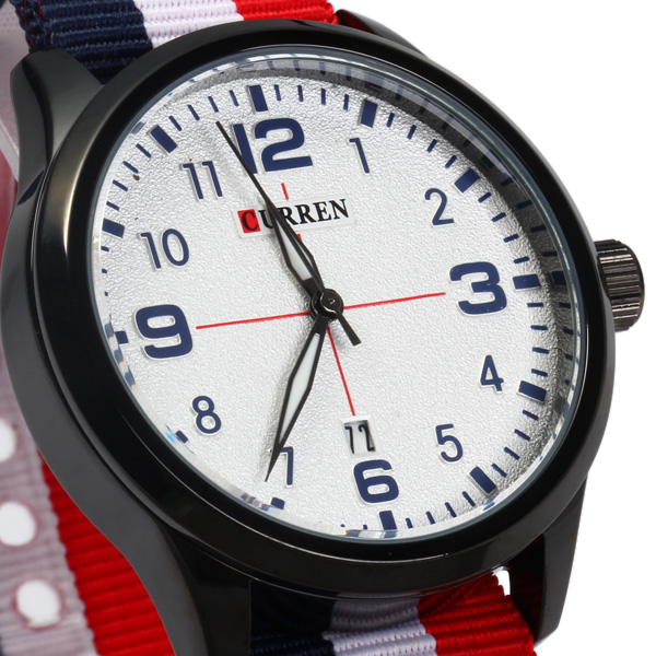 Curren 8195 Date Function Quartz Watch with Canvas Band for Men