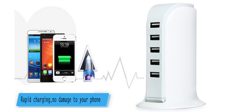 5 USB Ports 30W Charger Short Circuit Protection Power Adapter Home Travel Supplies - 100 - 240V EU Plug