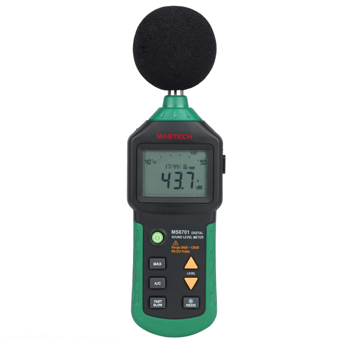 MASTECH Auto Range MS6701 Digital Sound Level Meter Decibel Noise Meter 30dB to 130dB with USB Interface / Clock and Calendar Function
