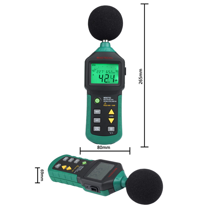 MASTECH Auto Range MS6702 Digital Sound Level Meter Decibel Noise Meter 30dB to 130dB with Clock and Calendar Function