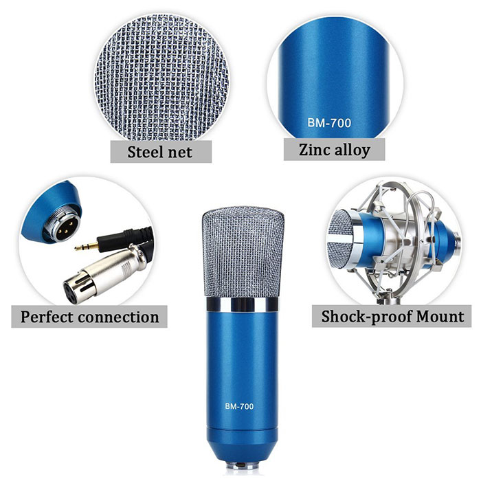BM-700 Condenser Sound Recording Microphone with Metal Shock Mount for Desktop Laptop