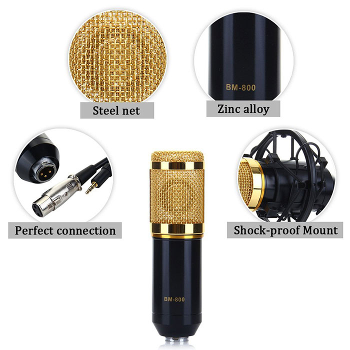 BM-700 Condenser Sound Recording Microphone with Plastic Shock Mount for Desktop Laptop
