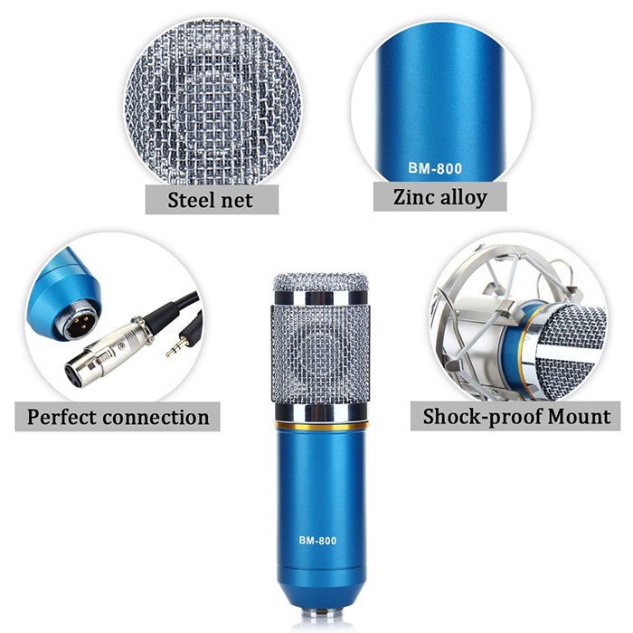 BM-800 Condenser Sound Recording Microphone and Metal Shock Mount for Radio Broadcasting Studio Voice Recording