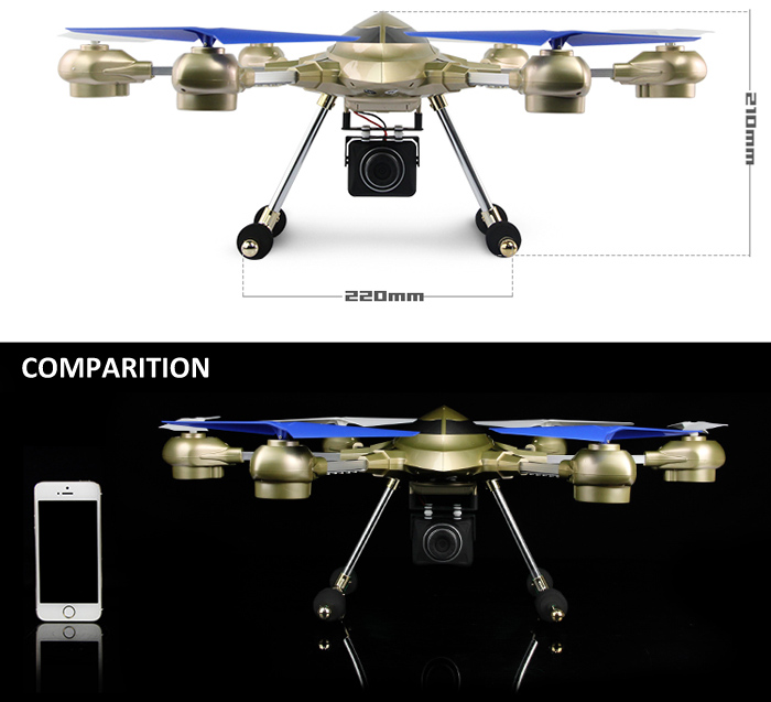 HUAJUN W609 - 7 5.8G FPV Pathfinder 2 6 Axis Gyro 4.5CH 2.4G RC Hexacopter with 2.0MP HD Camera - US Plug