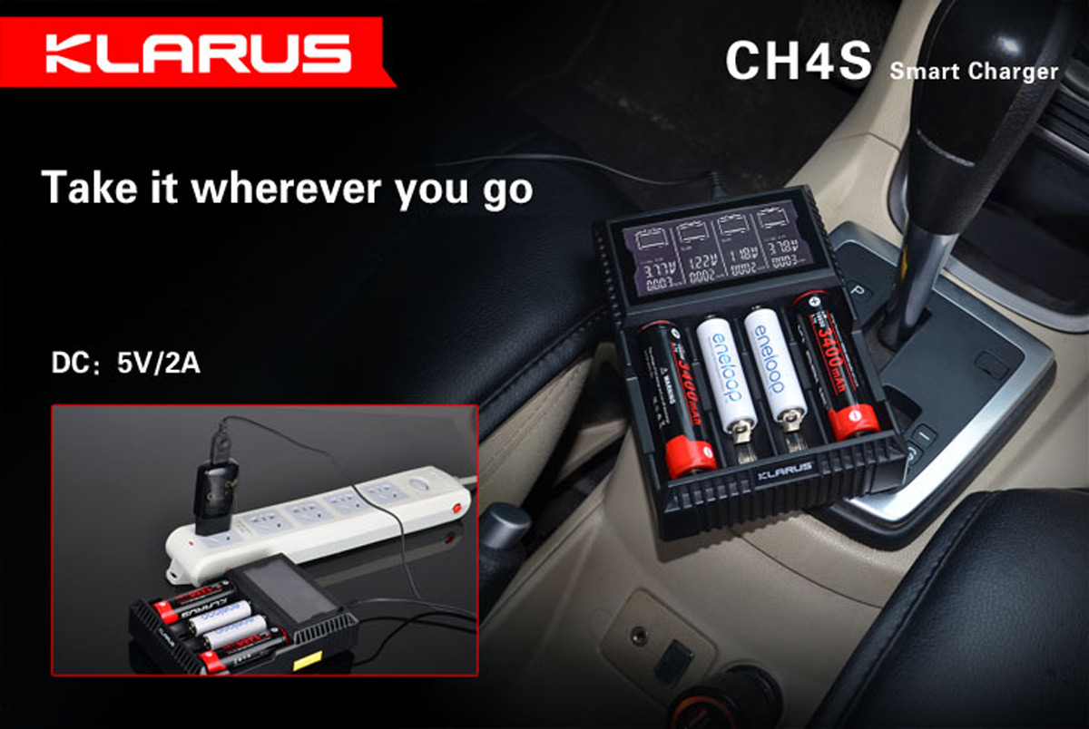Klarus CH4S Intelligent Four Cells Li-ion / Ni-MH / Ni-Cd Battery Charger with LCD ( US Plug )