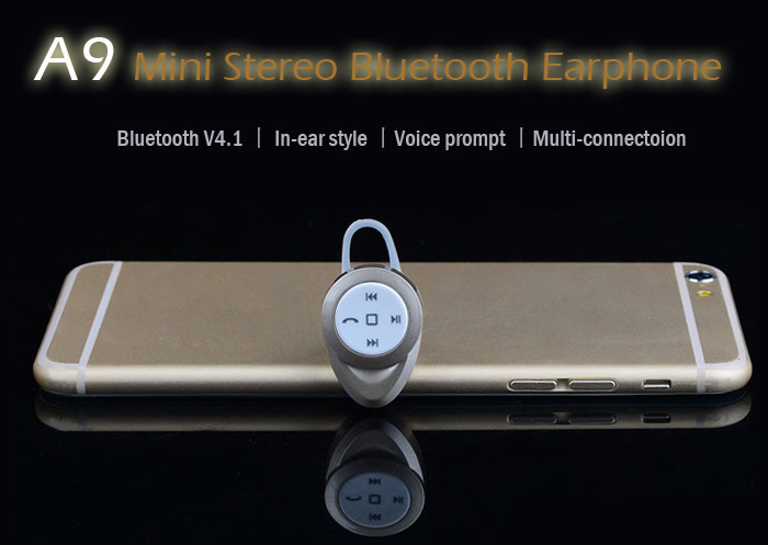 A9 Mini Wireless Stereo Bluetooth Hands Free In-Ear Headphone with Microphone for Tablet PC Smartphones