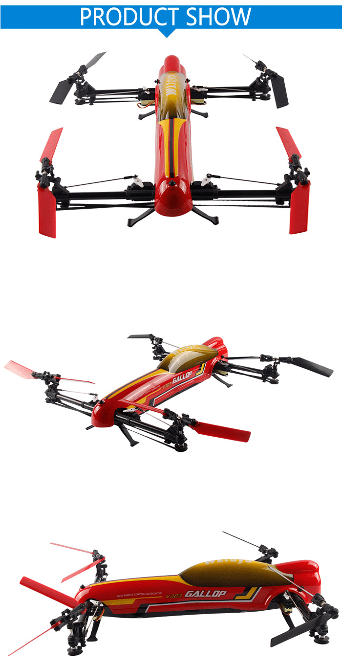 WLtoys V383 500 Electric 3D Inverted Flight 2.4G 6CH RC Quadcopter 6 Axis Gyro Stunt Aircraft