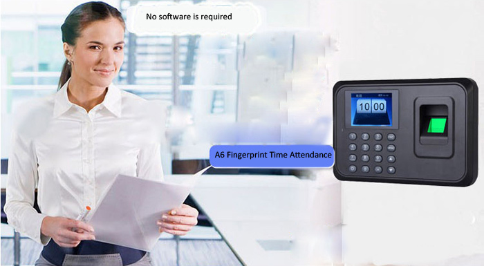A6 2.4 TFT Fingerprint Time Attendance Clock Employee Payroll Recorder for Company School