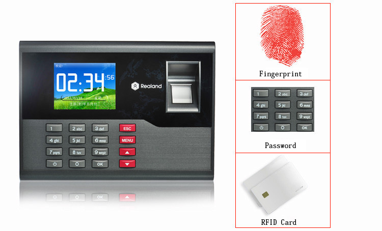 Realand AC120 2.8 inch TFT Biometric Fingerprint Time Attendance Clock with Three Identification Mode for Employees Payroll Recorder