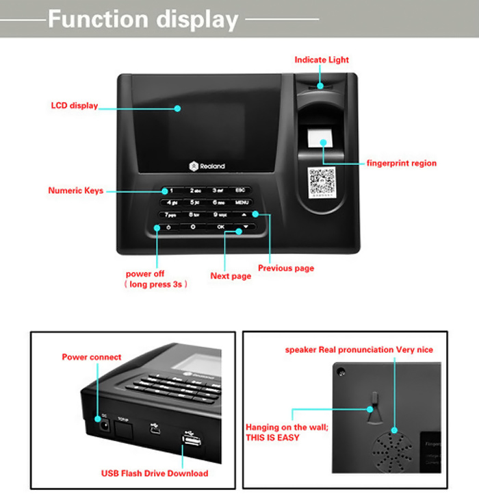 Realand A-C020 2.8 TFT Biometric Fingerprint Time Attendance Clock with Three Identification Mode for Employees Payroll Recorder