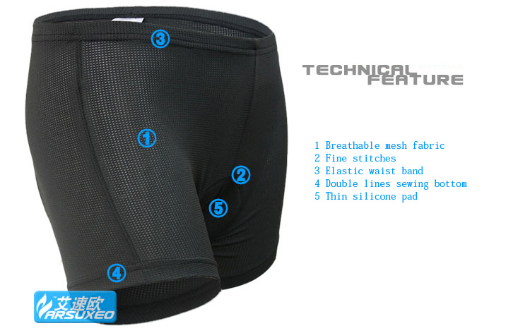 ARSUXEO Cycling Bike Bicycle MTB Shorts Underwear Compression Tights with Silicone Pad