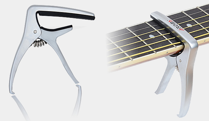 Aroma AC21 Zinc Alloy Steel Tuning Change Tune Clamp Key Capo for Wooden Guitar