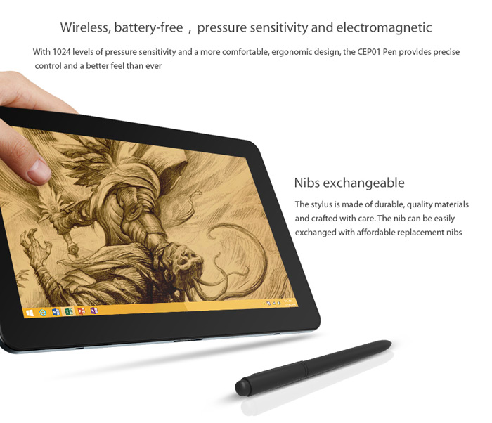 Battery-free Cube CEP01 Pen with 1024 Level Pressure for Cube i7 Stylus / i7 Book / Cube iWork 11