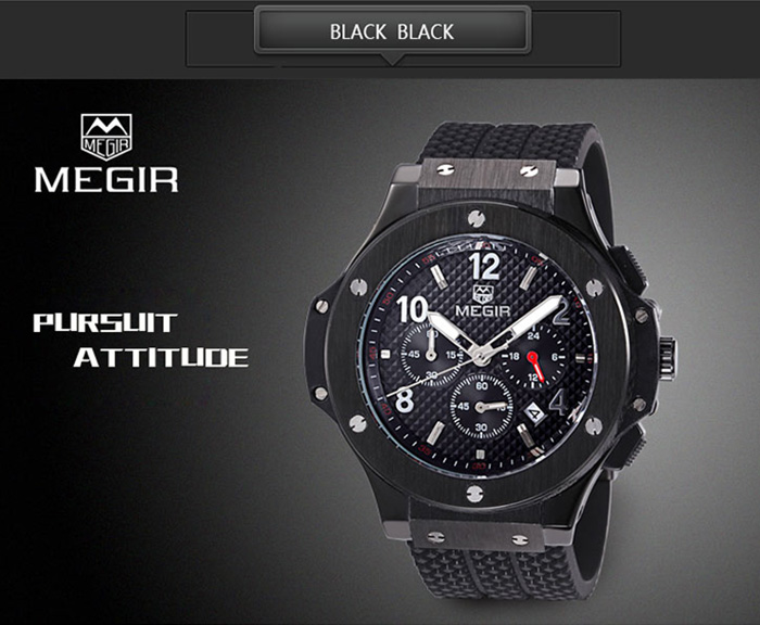 MEGIR 3002 Male Japan Quartz Watch with Date Function Silicone Band Luminous Pointer 30M Water Resistance