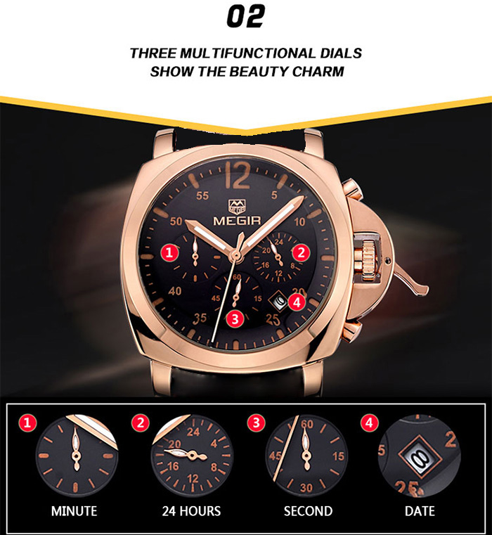 MEGIR 3006 Date Function Water Resistant Male Japan Quartz Watch with Stainless Steel Band Working Sub-dials
