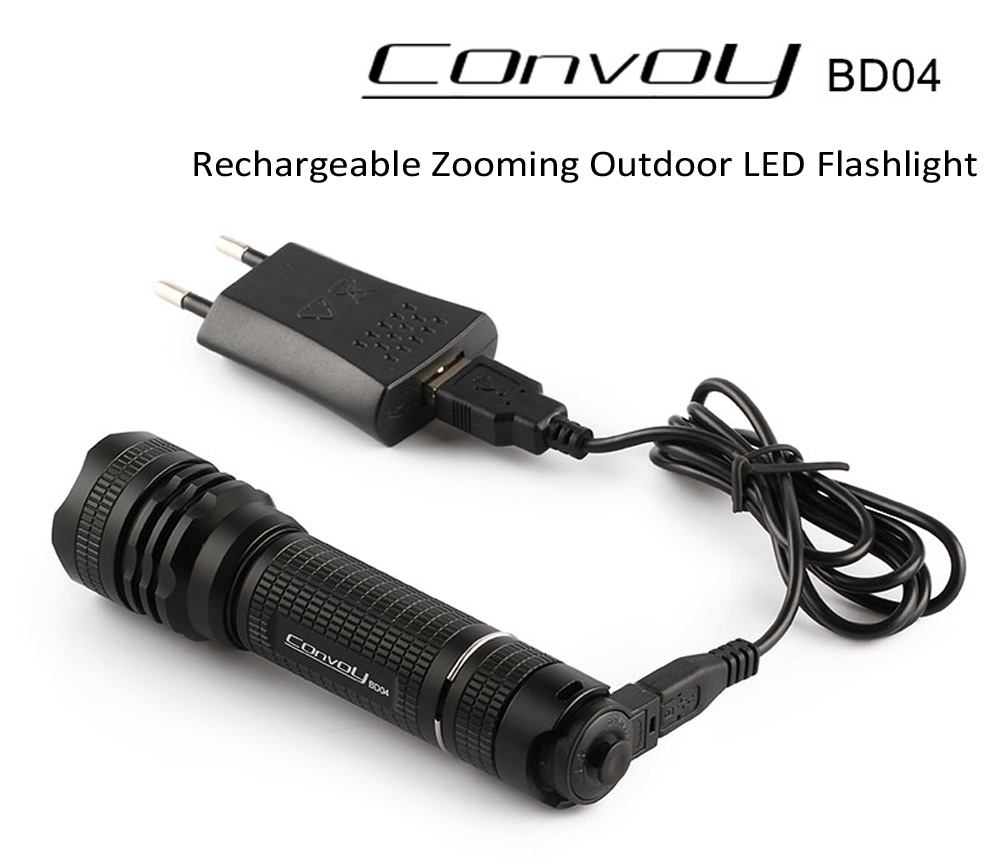 Convoy BD04 Cree XM - L2 U2 - 1A 650Lm Waterproof Rechargeable LED FLashlight with Zooming Focus ( 6500 - 7000K 1 x 18650 Battery )
