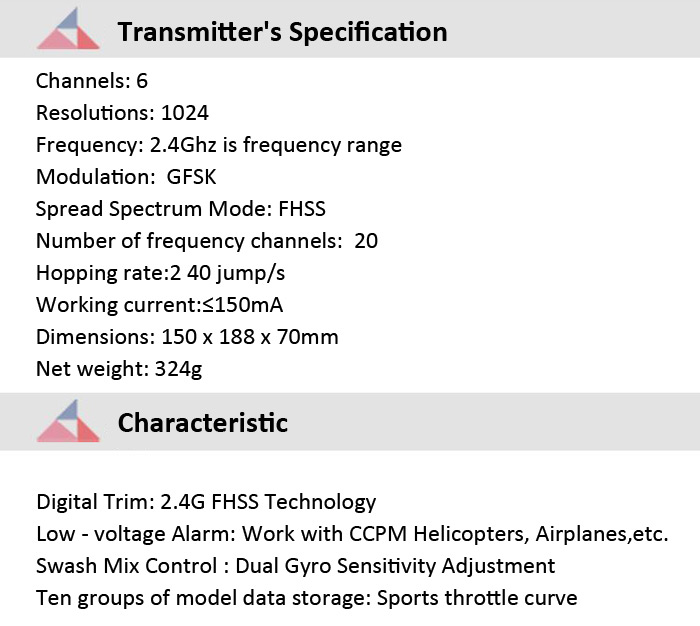 HISKY HCP100S 2.4GHz 6CH H - 6 Transmitter with XY7000S Receiver / RC Helicopter Spare Parts