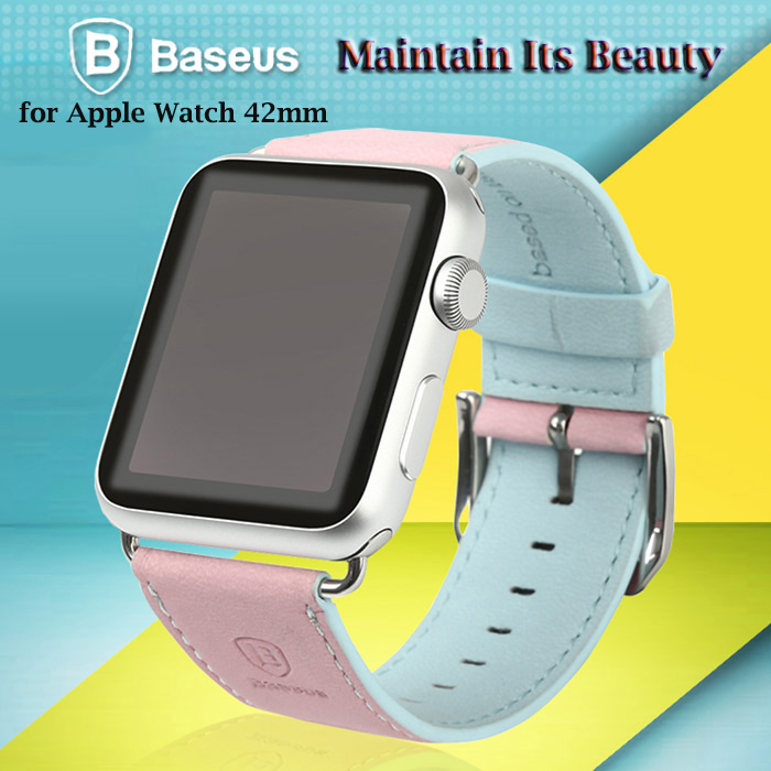 Baseus Contrast Color Leather Watchband for Apple Watch iWatch 42mm