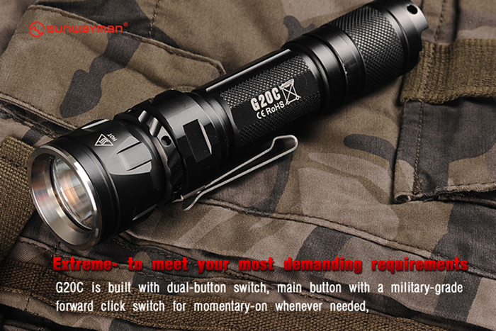 Sunwayman G20C Cree XM L2 U2 1000Lm 5 Modes Compact Waterproof LED Flashlight ( 1 x 18650 / CR123A Battery )