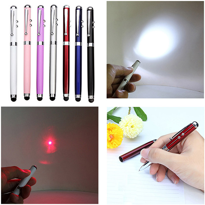 5mw 4 in 1 Red Light Capacitive Stylus Touch Pen Flashlight Ball Pen