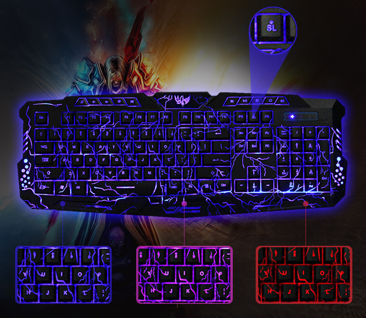 M 200 3 Colors Backlight Wired Gaming Keyboard For Windows