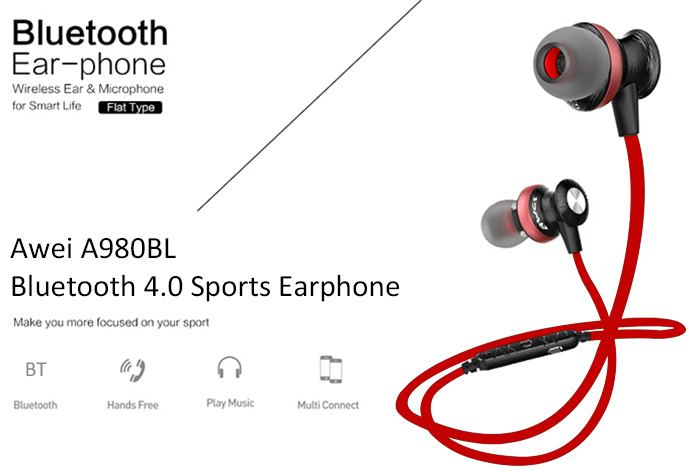 Awei A980BL Wireless Sports Bluetooth 4.0 Noise Isolation Earphones with Handsfree Songs Track Function