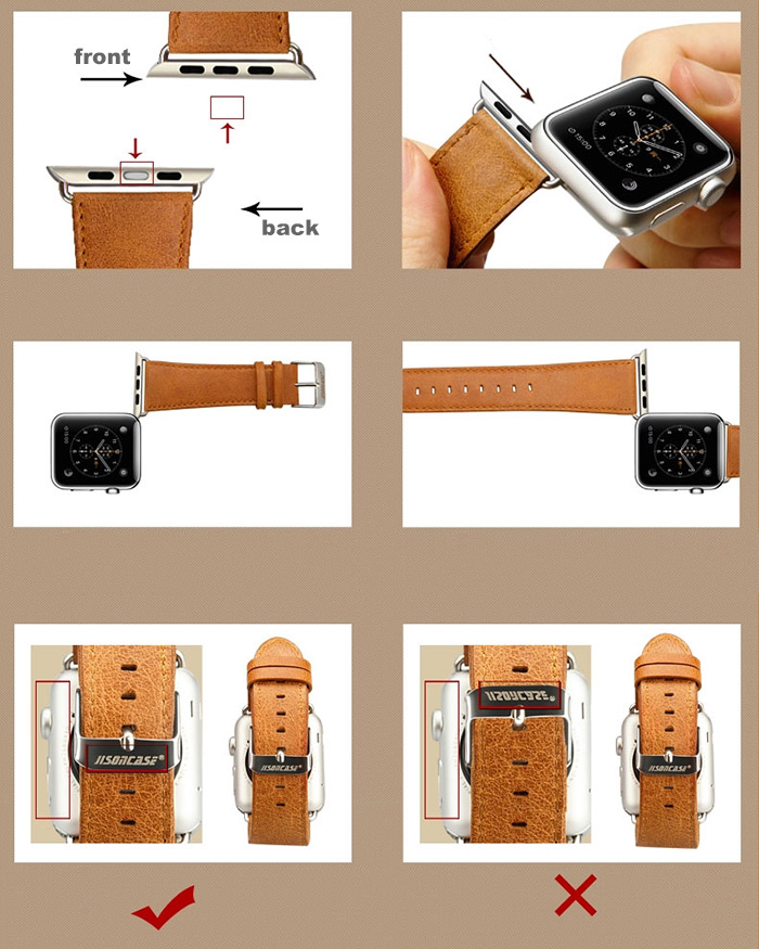 Jisoncase Oil Wax Genuine Leather Watchband Strap for Apple Watch 38mm