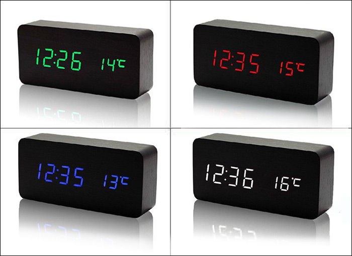 AJ6035 LED Wooden Alarm Clock Time Temperature Week Calendar Display for Home Office