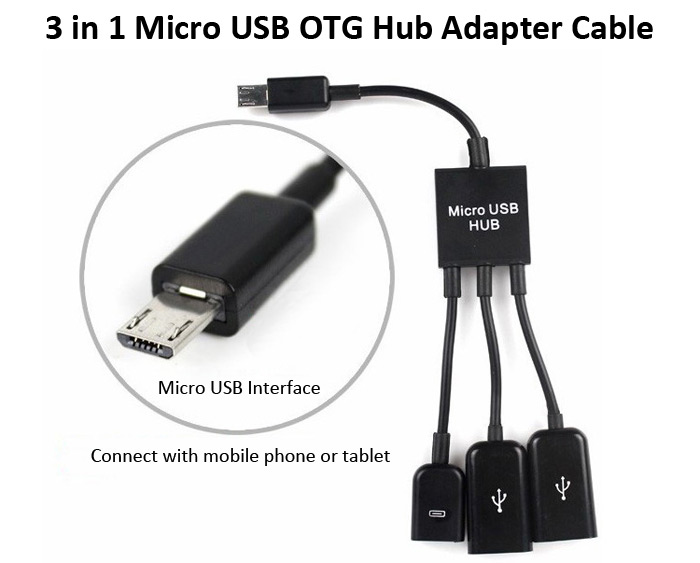 3 in 1 Micro USB Male Interface to Micro USB Female Dual USB 2.0 Port Hub OTG Adapter Cable for Phone Tablet
