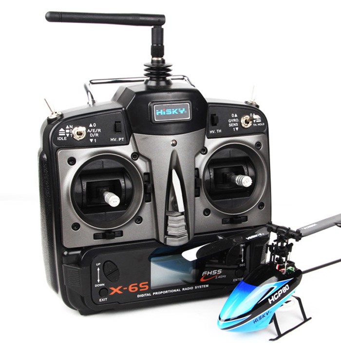 HISKY HCP80 2.4GHz 6CH 3D 3 Axis Gyro Flybarless RC Helicopter RTF + X - 6S Transmitter