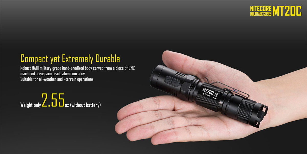 Nitecore MT20C Cree XP G2 R5 460Lm 8 Modes Tactical LED Flashlight Torch ( 1 x 18650 / 2 x CR123 Battery )