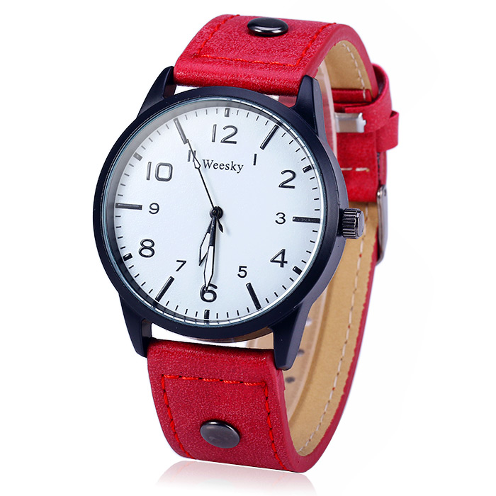 Weesky 1203G Arabic Numerals Scales Male Quartz Watch with Leather Band