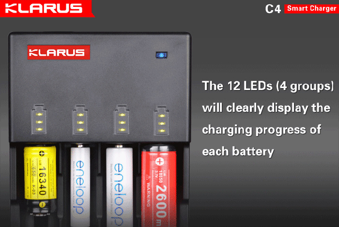 Klarus C4 Intelligent Li-ion / Ni-MH / Ni-Cd / LiFePO4 Battery Charger ( EU Plug )