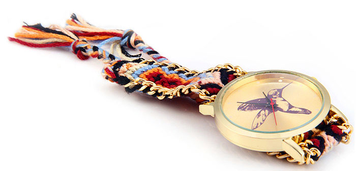 Woven Woolen Ladies Quartz Wrist Watch Hummingbird  Pattern Pull Cord Bracelet