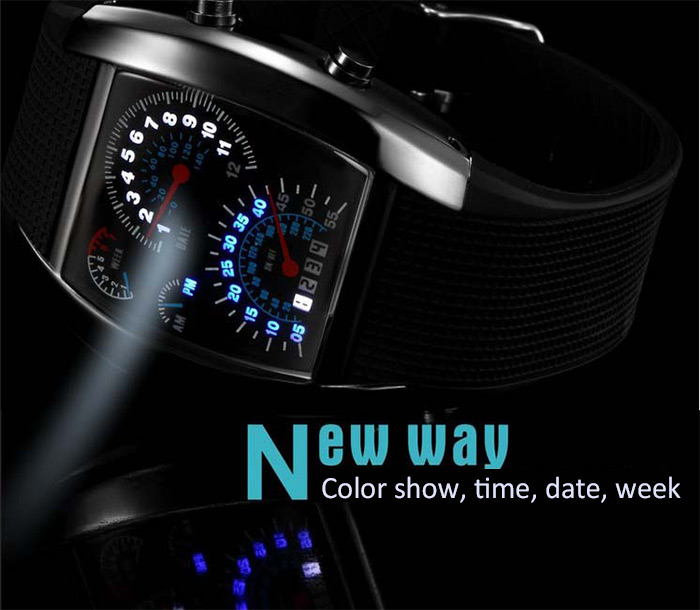 Rubber Band LED Car Watch / Table with Blue Light Display Time Arch Shaped