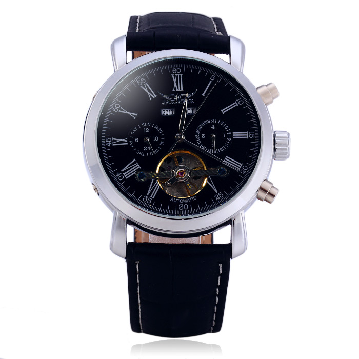 Jaragar A540 Men Tourbillon Genuine Leather Band Automatic Mechanical Watch with Two Working Sub-dials