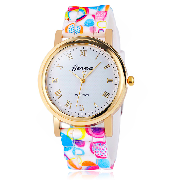 Jijia Printed Silicone Strap Women Quartz Watch with Golden Case