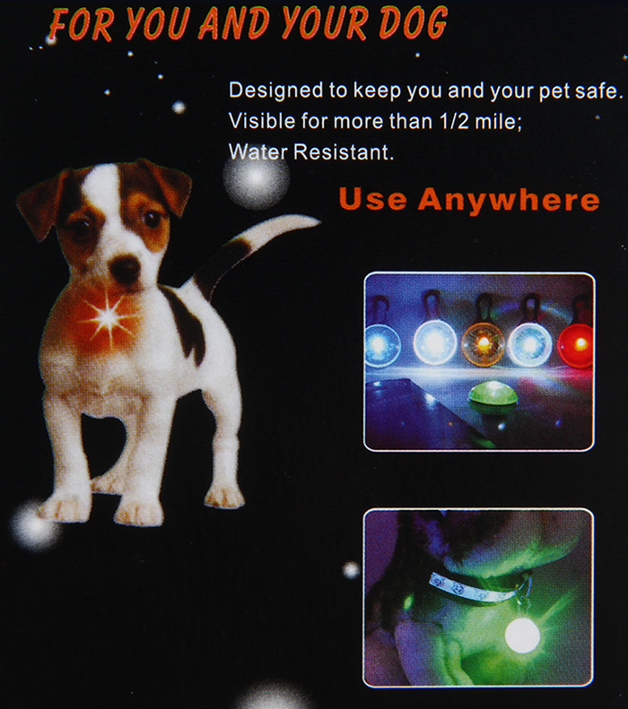 Flashing Clip-on LED Pet Pendant Tag Safety Light Cats Dogs Ornaments
