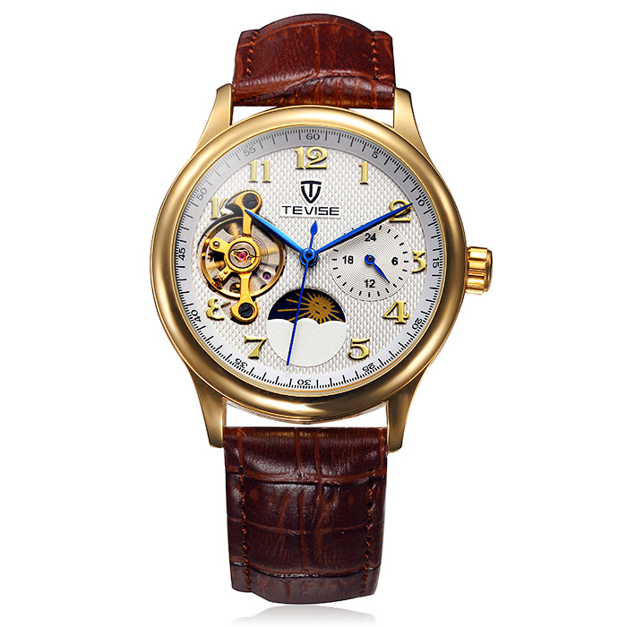 Tevise Men Tourbillon Leather Band Automatic Mechanical Watch with Two Working Sub-dials