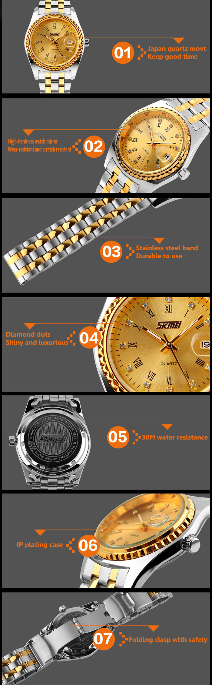 Skmei 9098 Water Resistant Japan Movt Quartz Watch Date Display Stainless Steel Band for Men