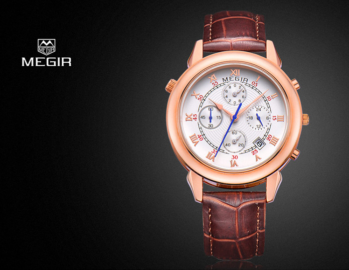 MEGIR Water Resistance Japan Quartz Watch Date Function Genuine Leather Band for Men