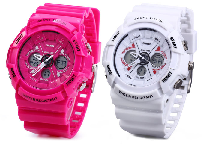 Skmei 0966 LED Sports Watch Dual Time with Luminous Stopwatch Alarm Rubber Band