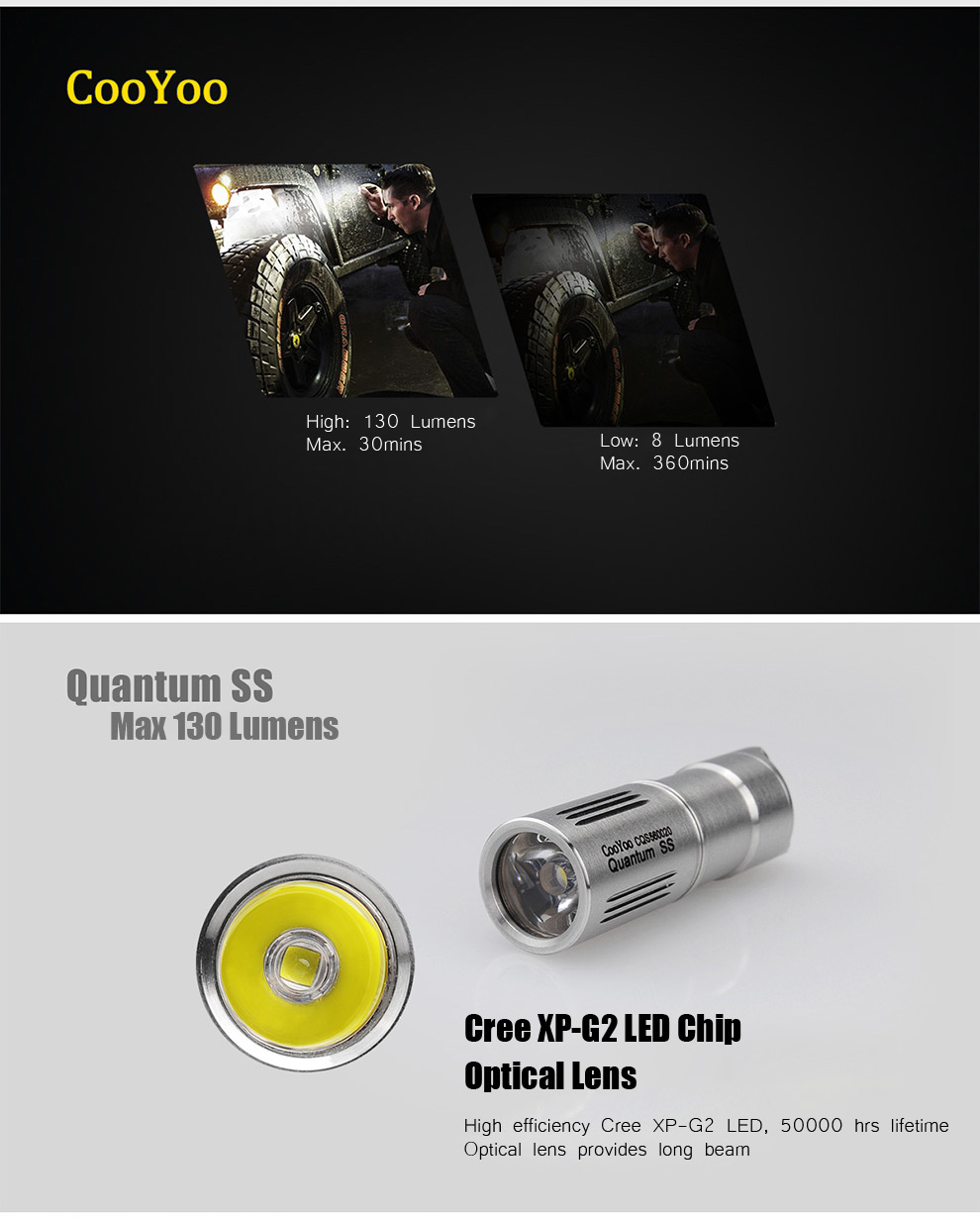 CooYoo Quantum SS Cree XP G2 130Lm 2 Modes Rechargeable Mini LED Flashlight Keychain Light ( 1 x 10180 Battery )